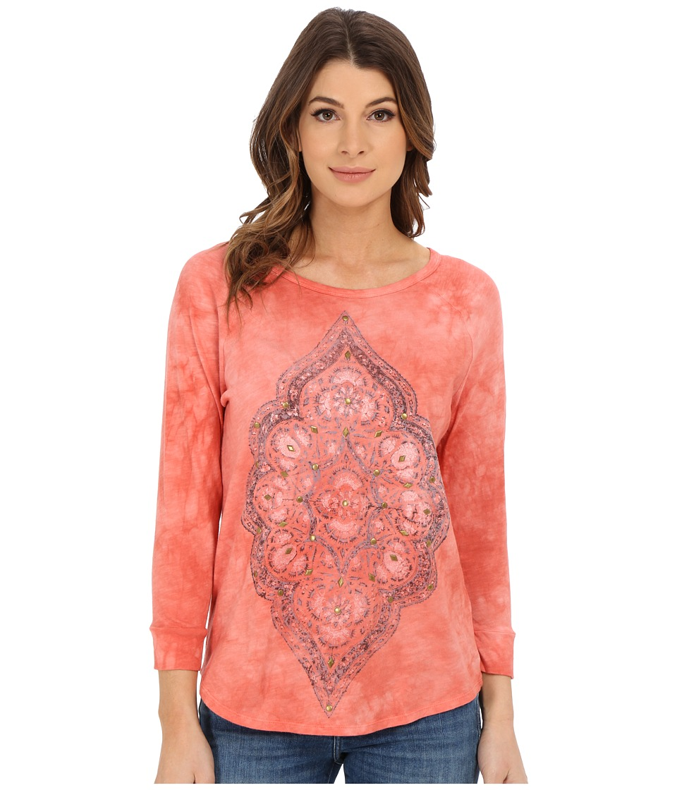 Lucky Brand - Arabesque Motif Tee (Pacific Red) Women's T Shirt