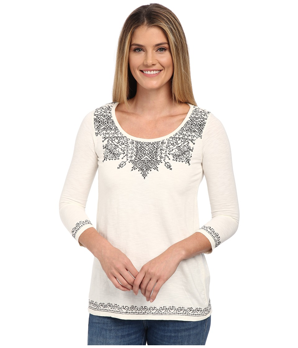 Lucky Brand - Placed Embroidery Tee (Nigori) Women