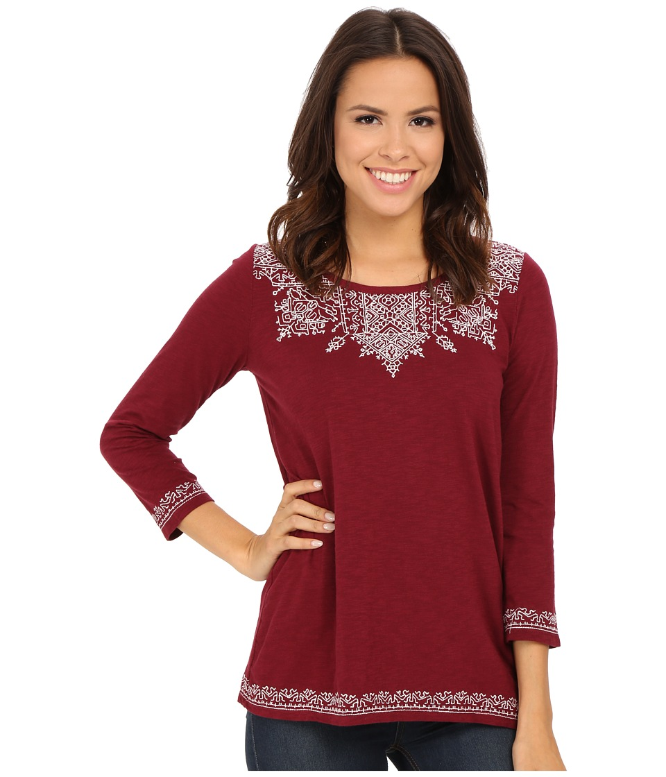 Lucky Brand - Placed Embroidery Tee (Mixed Berry) Women