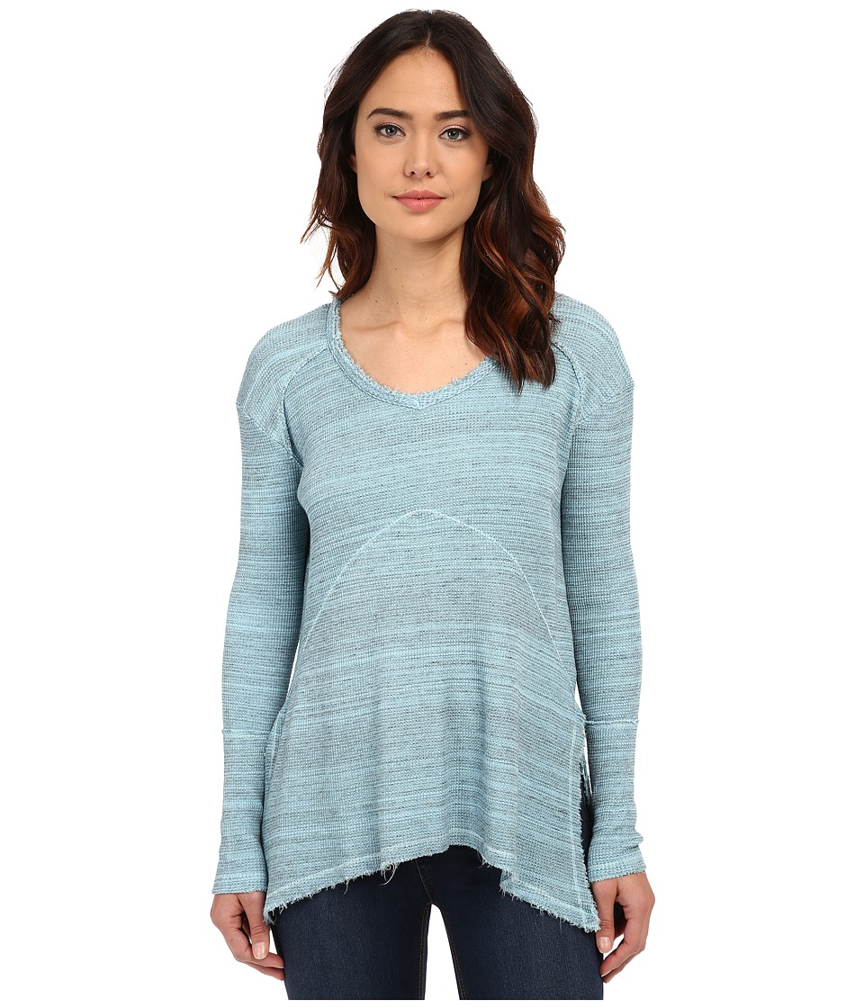 Mod-o-doc - Spacedyed Thermal Seamed V-Neck Pullover (Blue Frost) Women's Sweater