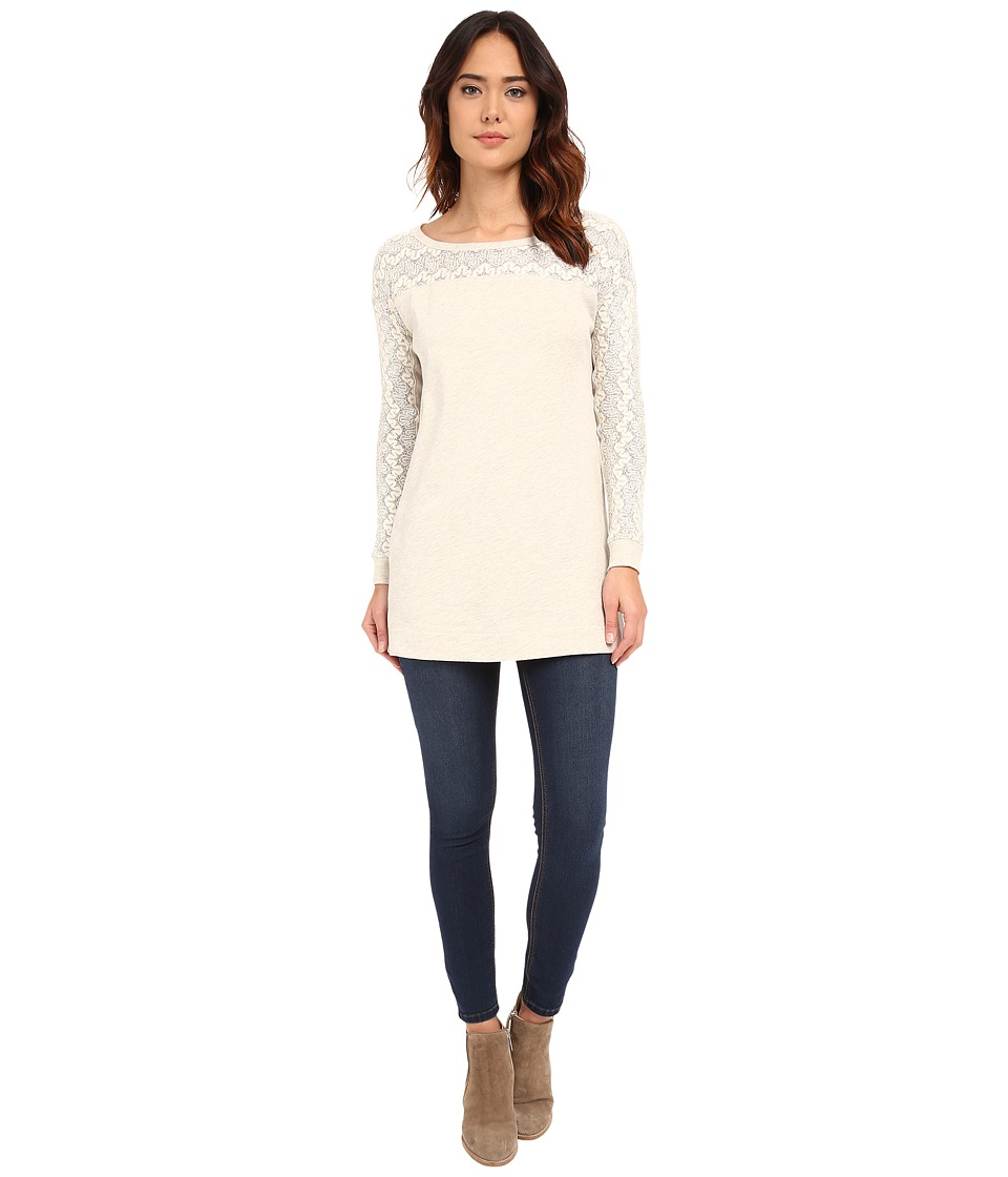 Mod-o-doc - Lace Sweater Knit Zip Hem Tunic (Champagne) Women's Sweater