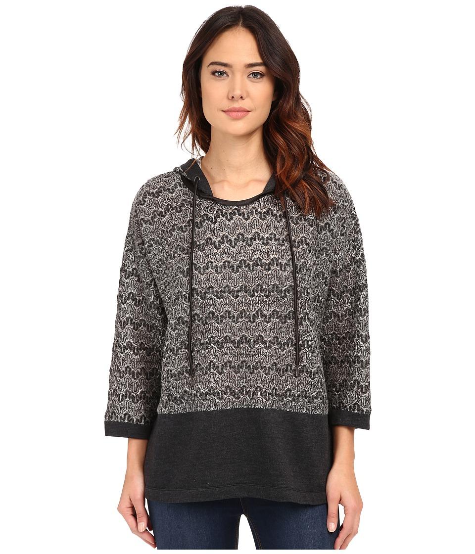 Mod-o-doc - Lace Sweater Knit Kimono Sleeve Hooded Pullover (Black) Women's Sweatshirt