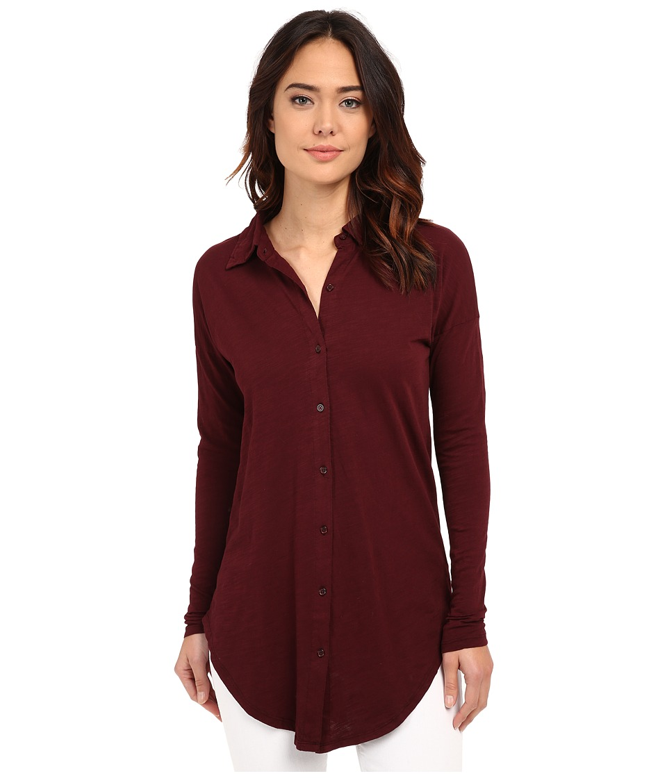 Mod-o-doc - Sueded Slub Jersey Drop Shoulder Button Front Shirt (Burgundy Noir) Women's Long Sleeve Button Up