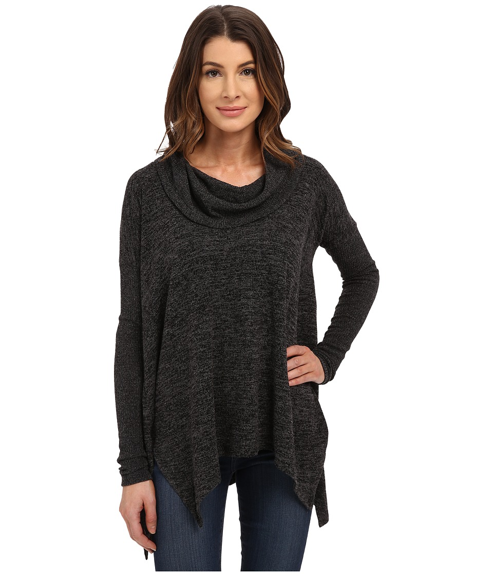 Mod-o-doc - Heather Sweater Long Sleeve Cowl Neck Pullover w/ Contrast Sleeve (Black) Women's Long Sleeve Pullover