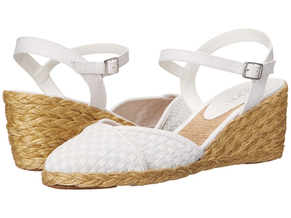 LAUREN Ralph Lauren - Capricia (White Woven Cotton Cording/Canvas) Women's Wedge Shoes