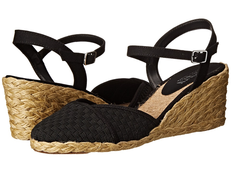 LAUREN Ralph Lauren - Capricia (Black Woven Cotton Cording/Canvas) Women's Wedge Shoes