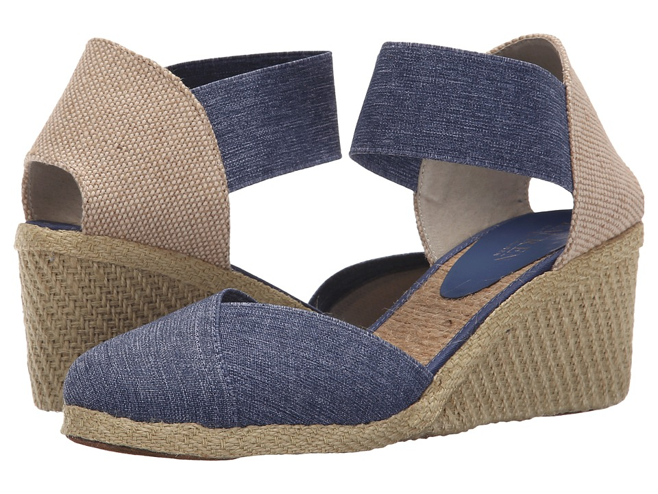 LAUREN Ralph Lauren - Charla (Blue Denim Elastic) Women's Wedge Shoes