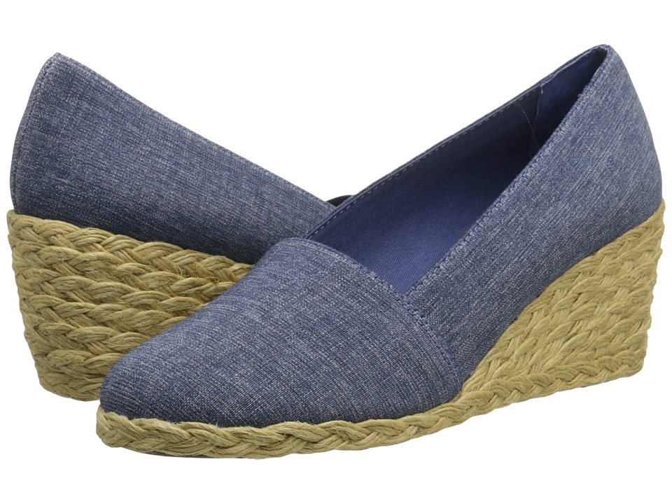LAUREN Ralph Lauren - Cynthia (Blue Denim Elastic) Women's Wedge Shoes