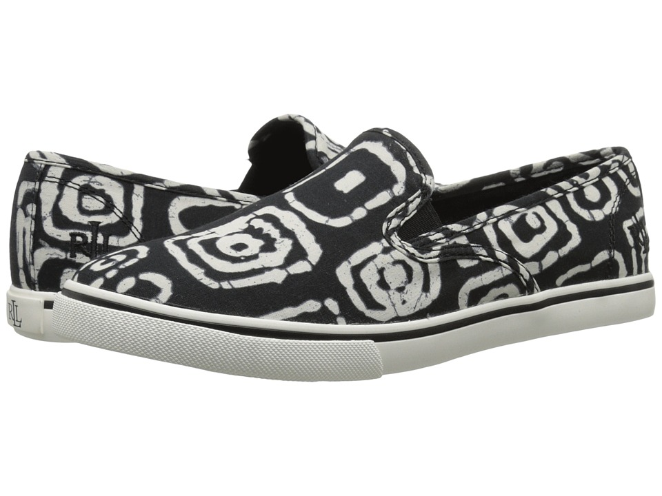 LAUREN Ralph Lauren - Janis (Black/White Batik Tribal Cotton) Women's Slip on Shoes