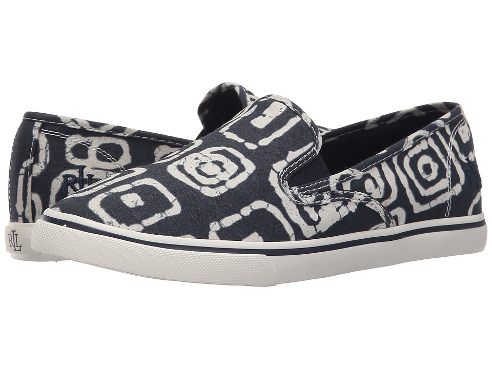LAUREN Ralph Lauren - Janis (Modern Navy/White Batik Tribal Cotton) Women's Slip on Shoes