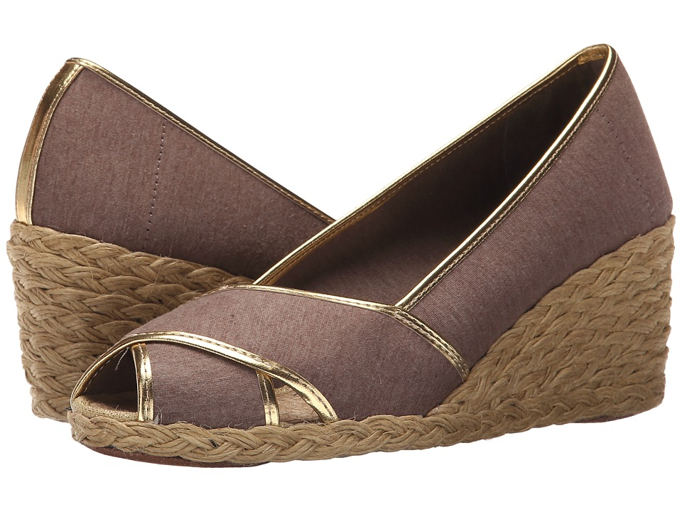 LAUREN Ralph Lauren - Cecilia II (Brown/RL Gold Jersey Knit/Met Kid PU) Women's Wedge Shoes