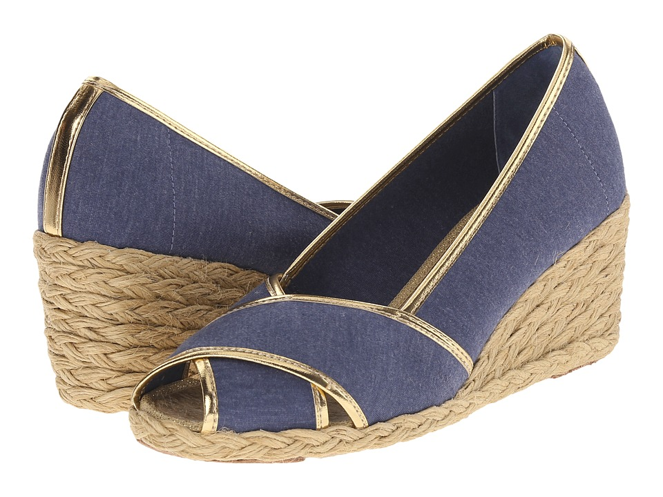 LAUREN Ralph Lauren - Cecilia II (Navy/RL Gold Jersey Knit/Met Kid PU) Women's Wedge Shoes