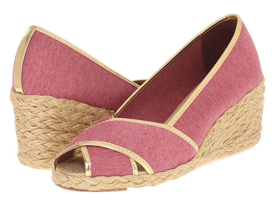 LAUREN Ralph Lauren - Cecilia II (Red/RL Gold Jersey Knit/Met Kid PU) Women's Wedge Shoes