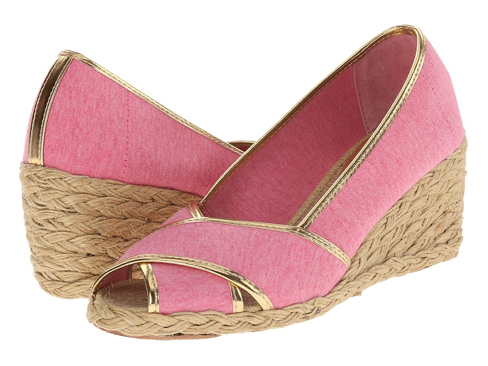 LAUREN Ralph Lauren - Cecilia II (Pink/RL Gold Jersey Knit/Met Kid PU) Women's Wedge Shoes