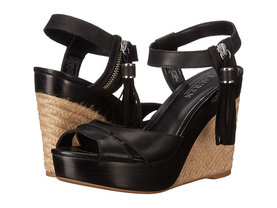 LAUREN Ralph Lauren - Gwen (Black Burnished Vachetta) Women's Wedge Shoes