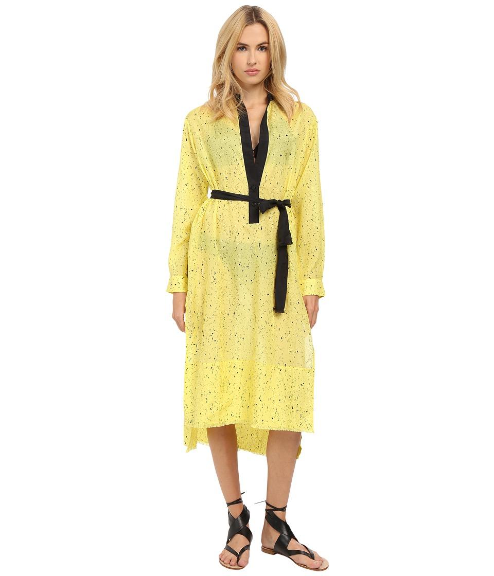 Proenza Schouler Splatter Print Fringe Shirtdress Cover-Up (Lemon) Women