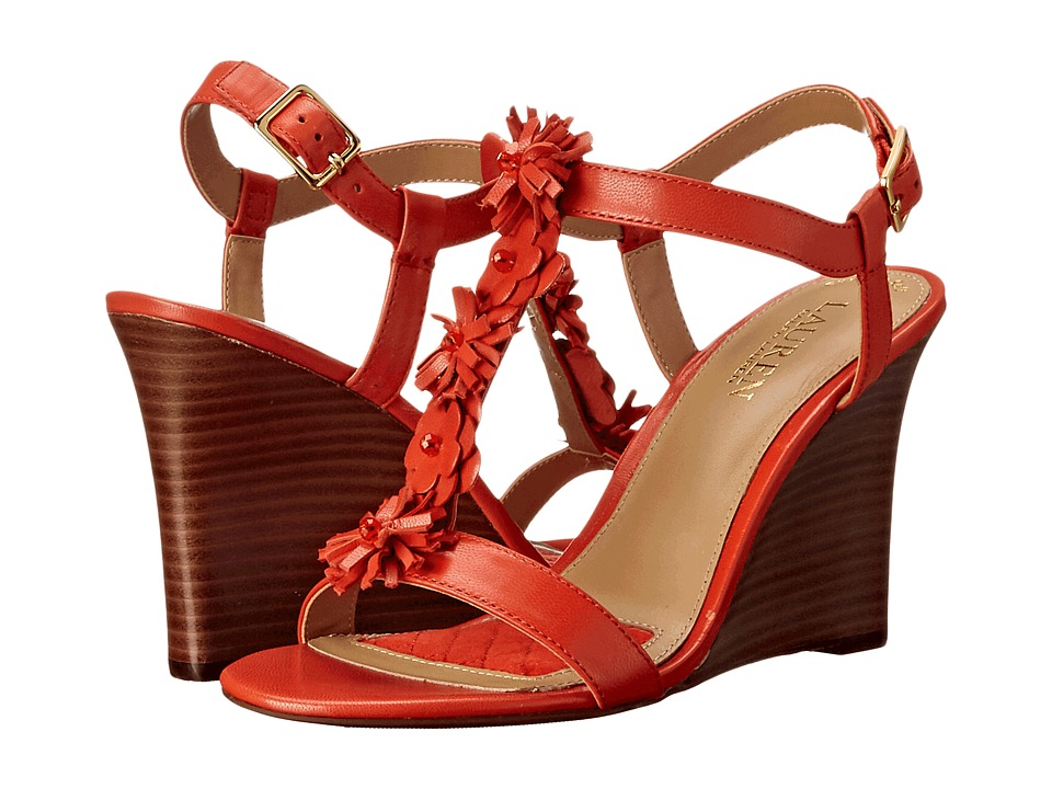 LAUREN Ralph Lauren - Abia (Persimmon Kidskin) Women's Wedge Shoes