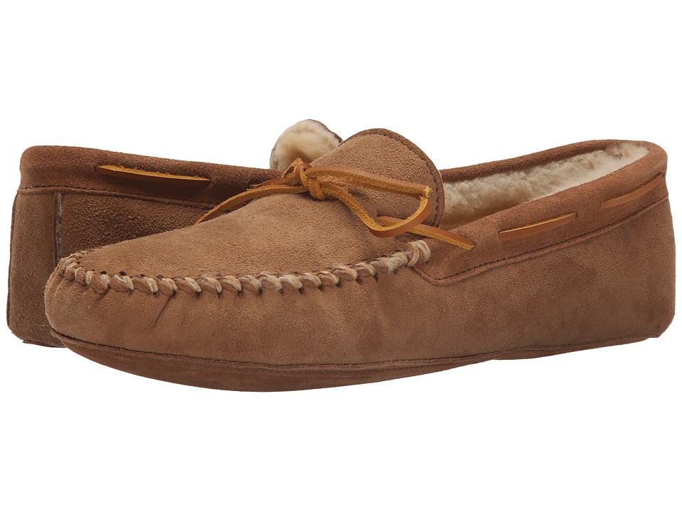 Minnetonka - Sheepskin Softsole Moccasin (Golden Tan) Men's Shoes