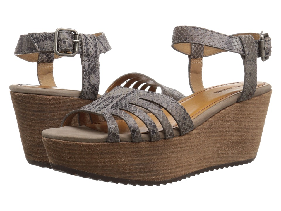 Trask - Helen (Charcoal Snake Print Calfskin/Charcoal Suede) Women's Wedge Shoes