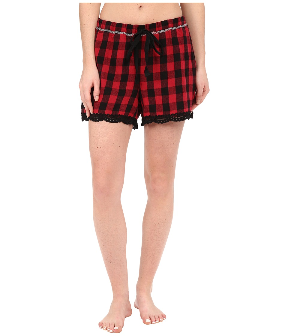 Dylan by True Grit - Flannel Sleepwear Boxers w/ Heather Knit Buffalo Plaid (Red/Black) Women's Pajama