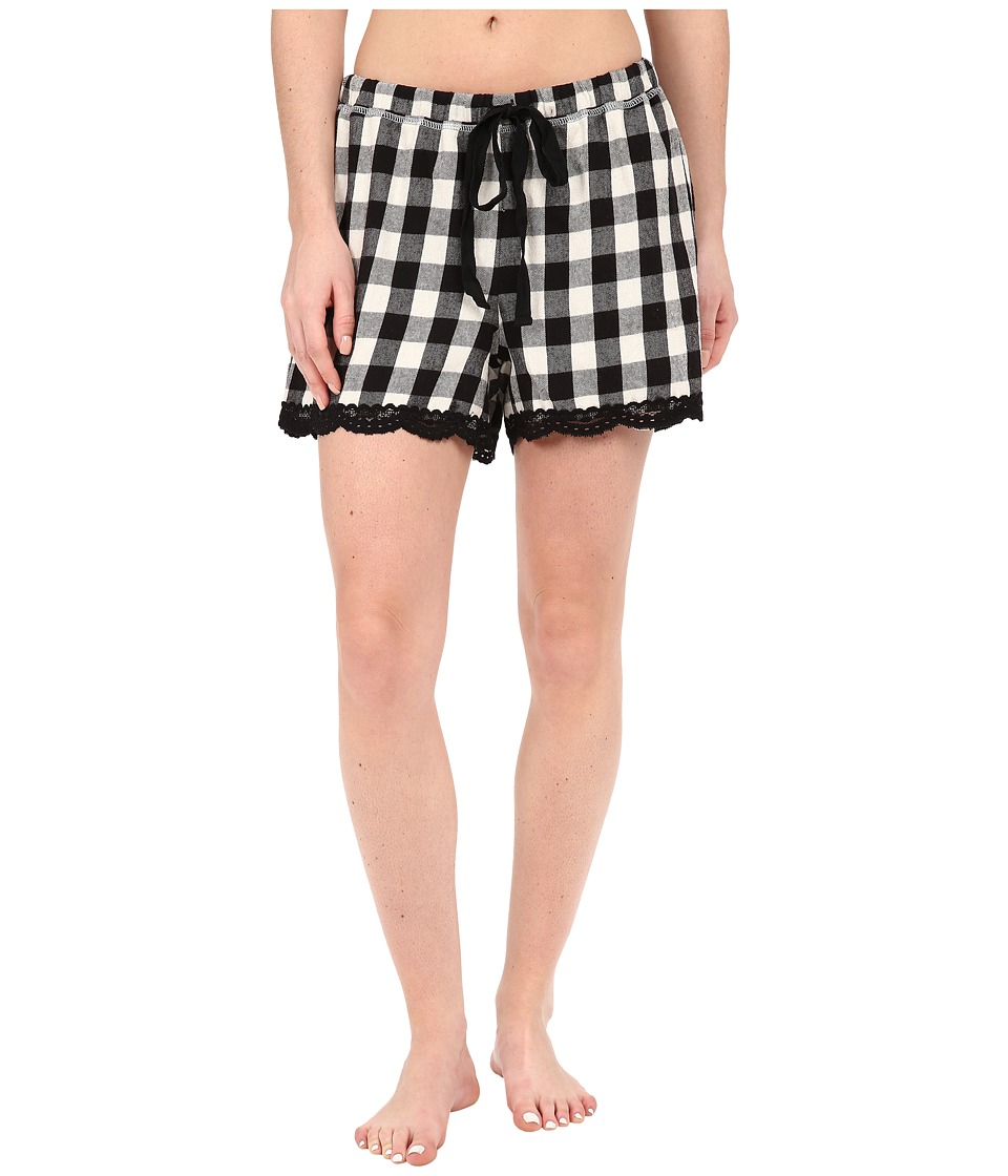 Dylan by True Grit - Flannel Sleepwear Boxers w/ Heather Knit Buffalo Plaid (Ivory/Black) Women's Pajama