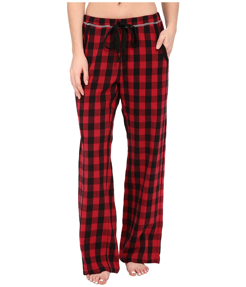 Dylan by True Grit - Flannel Sleepwear Pants w/ Heather Knit Buffalo Plaid (Red/Black) Women's Pajama