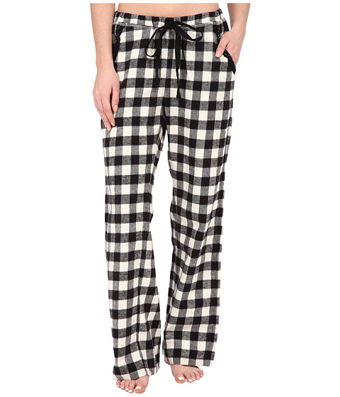 Dylan by True Grit - Flannel Sleepwear Pants w/ Heather Knit Buffalo Plaid (Ivory/Black) Women's Pajama