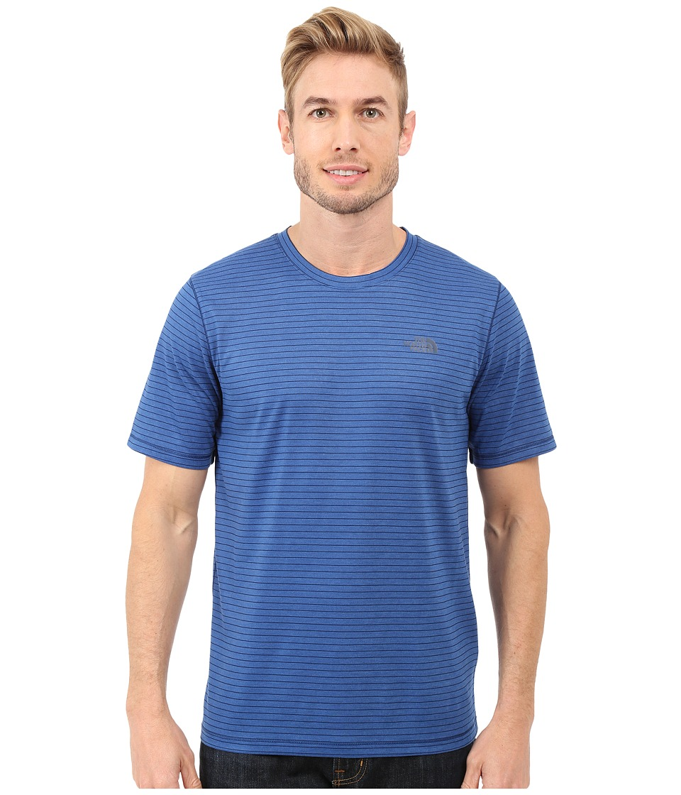 The North Face - Short Sleeve Crag Crew (Limoges Blue Stripe) Men