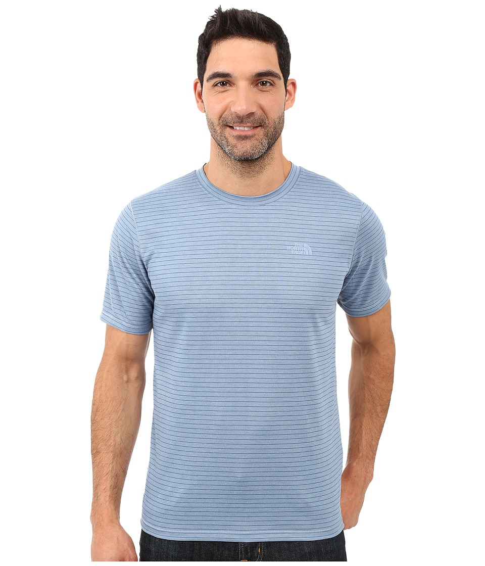 The North Face Short Sleeve Crag Crew (Faded Denim Stripe) Men
