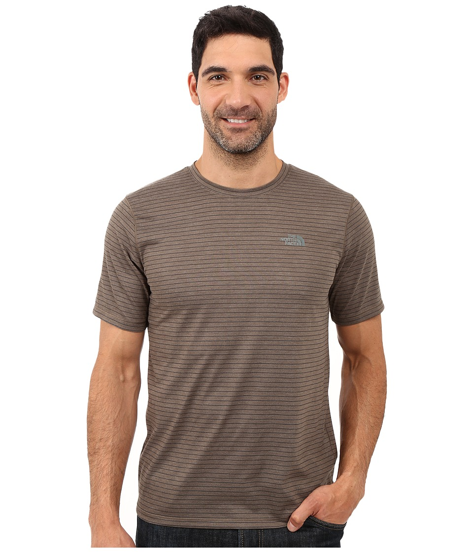 The North Face Short Sleeve Crag Crew (Weimaraner Brown Stripe) Men