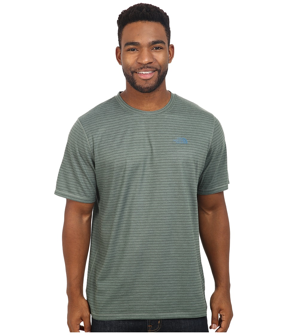 The North Face - Short Sleeve Crag Crew (Laurel Wreath Green Stripe) Men