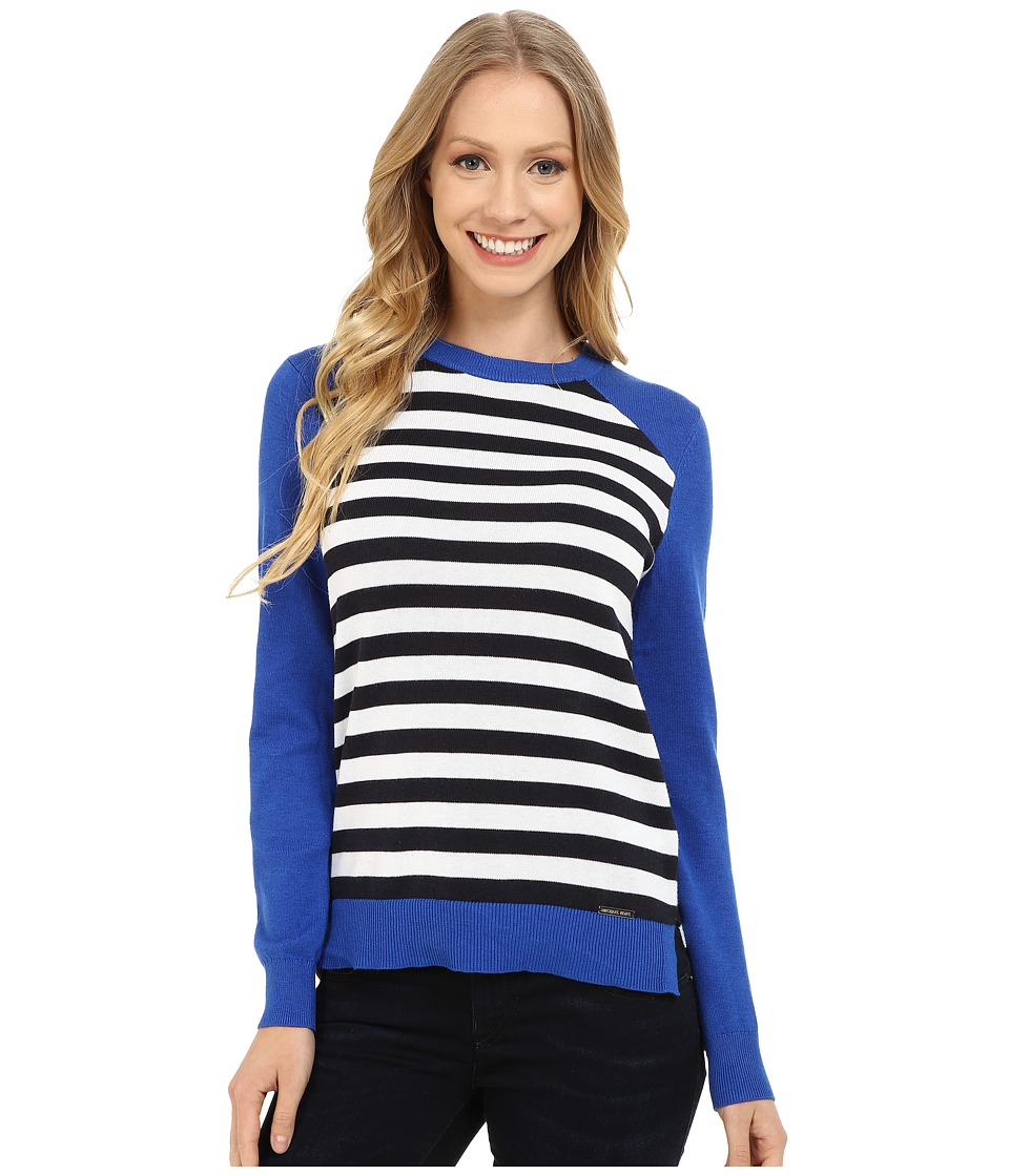 MICHAEL Michael Kors - Stripe Raglan Sweater (Amalfi Blue) Women's Sweater