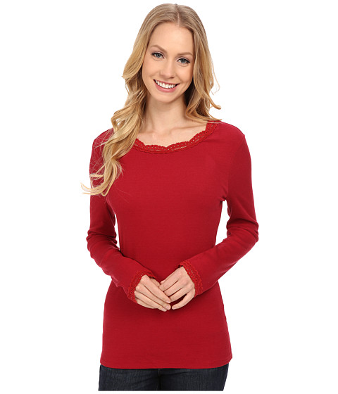 Dylan by True Grit - Solid Long Sleeve Tee with Lace (Red) Women's T Shirt