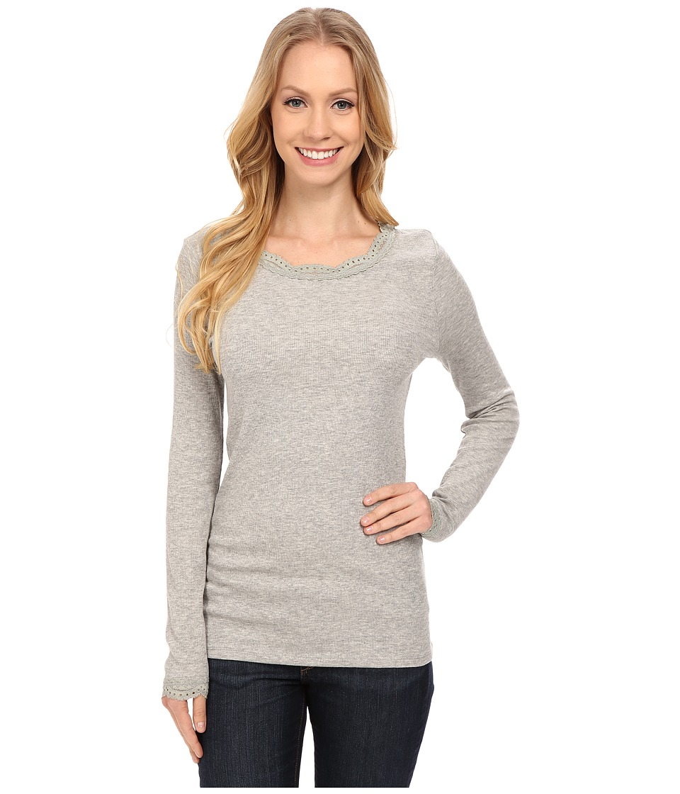 Dylan by True Grit - Solid Long Sleeve Tee with Lace (Heather) Women