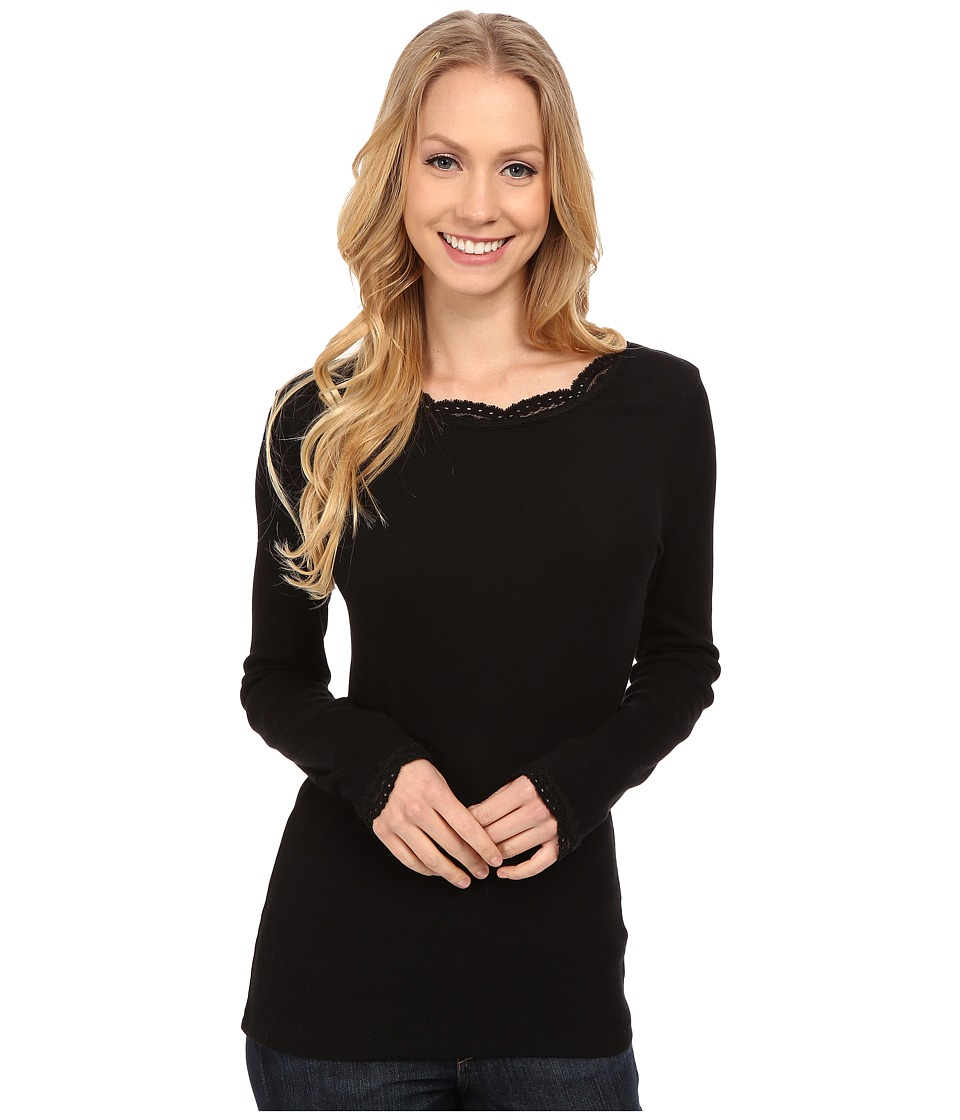Dylan by True Grit - Solid Long Sleeve Tee with Lace (Black) Women