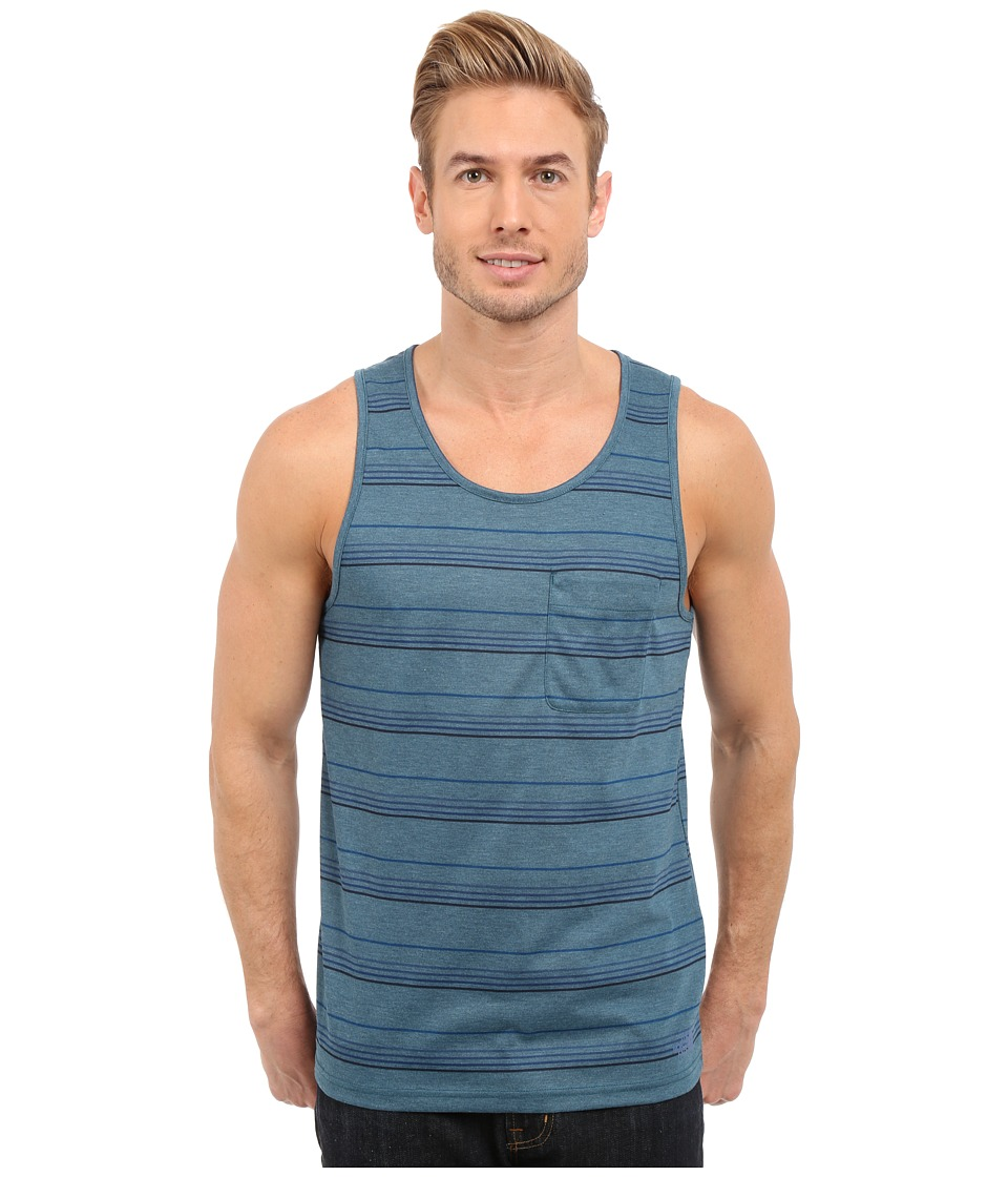 The North Face - Crag Tank Top (Mineral Blue Heather Stripe) Men's Sleeveless