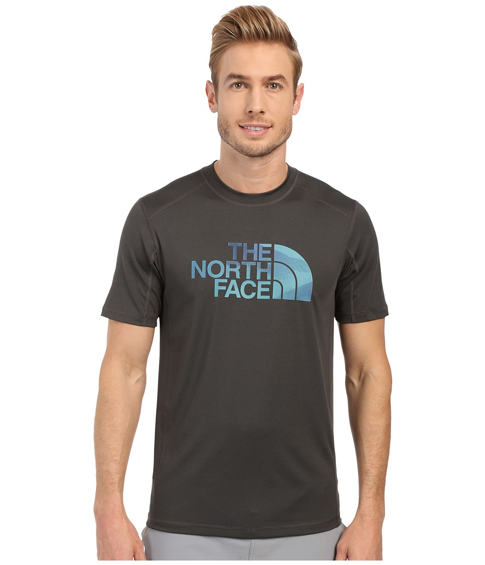 The North Face Short Sleeve Sink or Swim Rashguard (Asphalt Grey/Mountain Water Color Print) Men