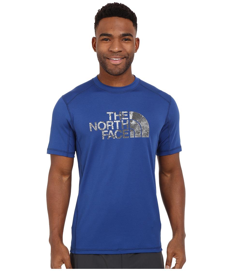 The North Face - Short Sleeve Sink or Swim Rashguard (Limoges Blue/Asphalt Grey Moss Print) Men's Swimwear