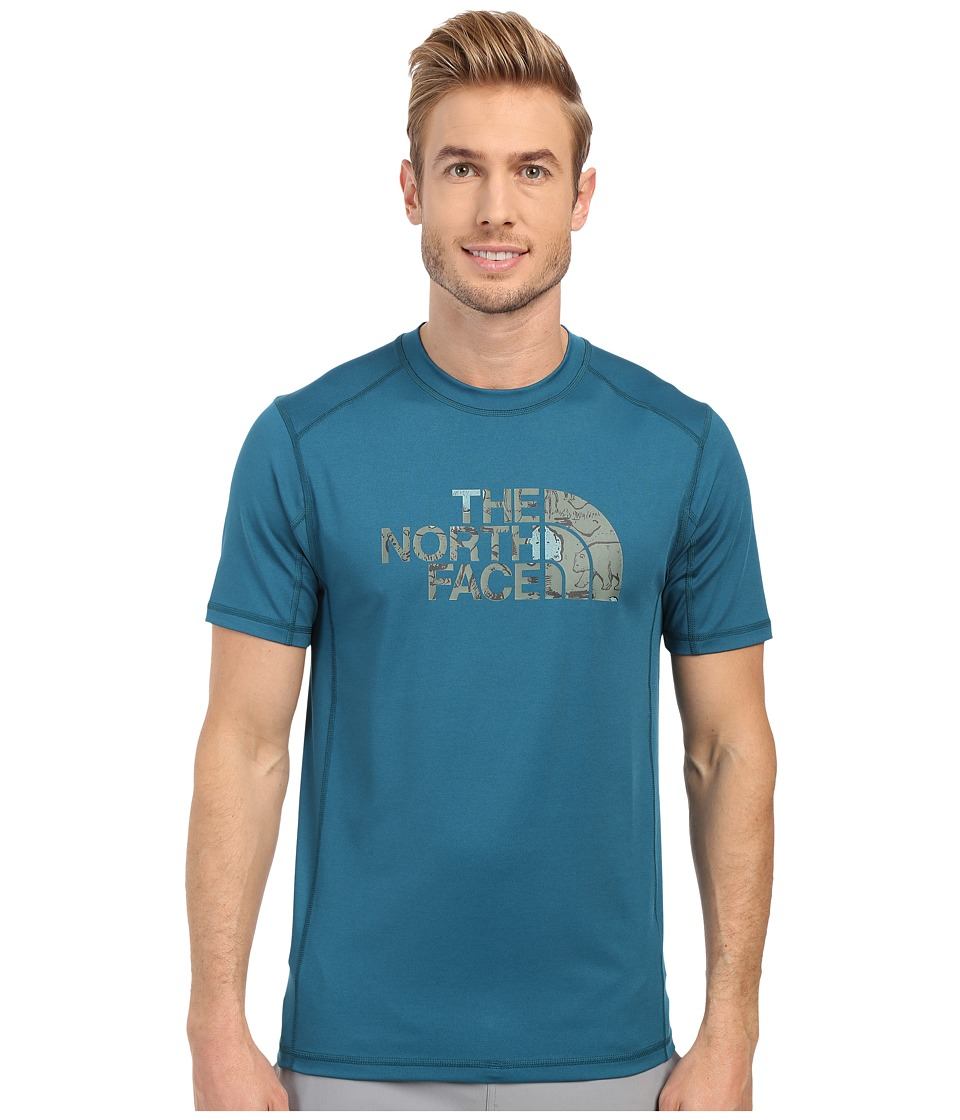 The North Face Short Sleeve Sink or Swim Rashguard (Blue Coral/Laurel Wreath Green Wildlife Print) Men