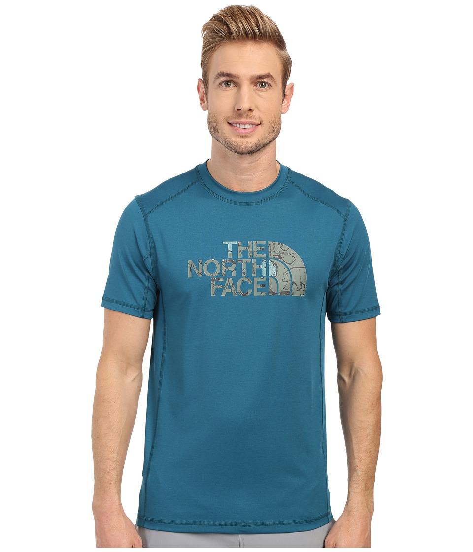 The North Face - Short Sleeve Sink or Swim Rashguard (Blue Coral/Laurel Wreath Green Wildlife Print) Men's Swimwear