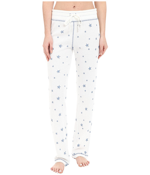 Dylan by True Grit - Vintage Washed Waffle Vintage Stars PJ Pants (Faded White/Chambray) Women