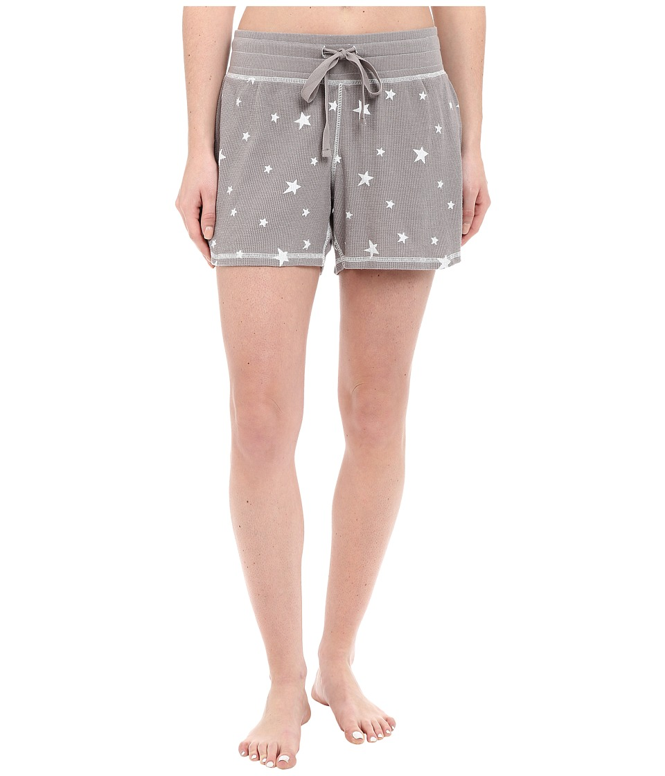 Dylan by True Grit - Vintage Washed Waffle Vintage Stars Sleep Shorts (Silver Grey/White) Women