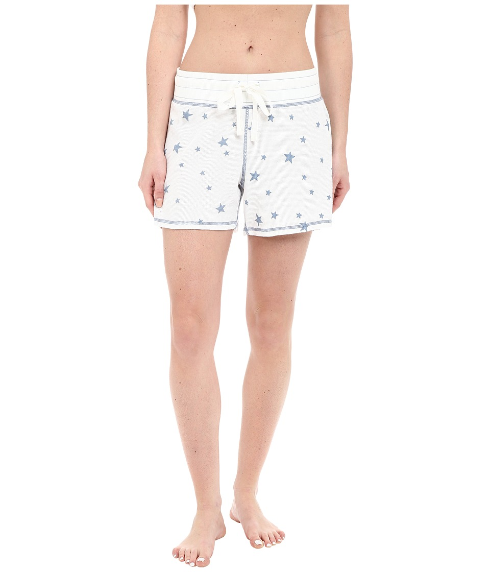 Dylan by True Grit - Vintage Washed Waffle Vintage Stars Sleep Shorts (Faded White/Chambray) Women