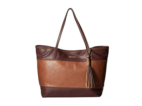 Big Buddha - Erza Color Block Whipstitch Tote w/ Bamboo Tassel (Burgundy/Cognac) Tote Handbags