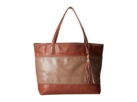 Big Buddha - Erza Color Block Whipstitch Tote w/ Bamboo Tassel (Taupe/Cognac) Tote Handbags