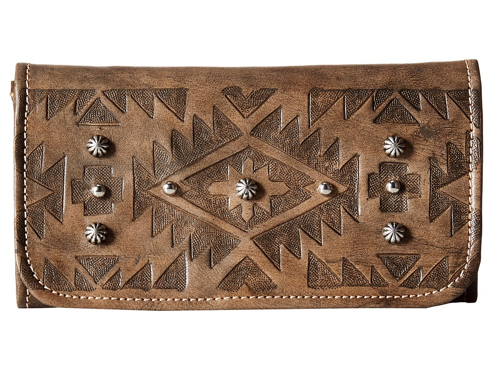 American West - Mystic Shadow Tri-Fold Wallet (Distressed Charcoal Brown) Wallet Handbags