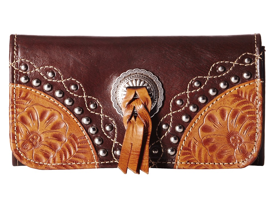 American West - Chestnut Ridge Tri-Fold Wallet (Chestnut Brown/Golden Tan) Wallet Handbags