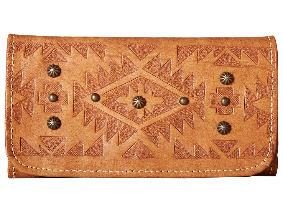 American West - Mystic Shadow Tri-Fold Wallet (Golden Tan) Wallet Handbags