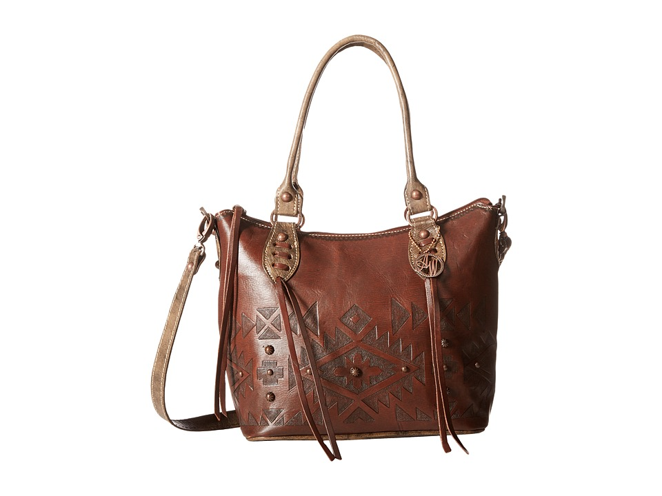 American West - Mystic Shadow Convertible Bucket Tote (Chestnut Brown/Distressed Charcoal Brown) Tote Handbags