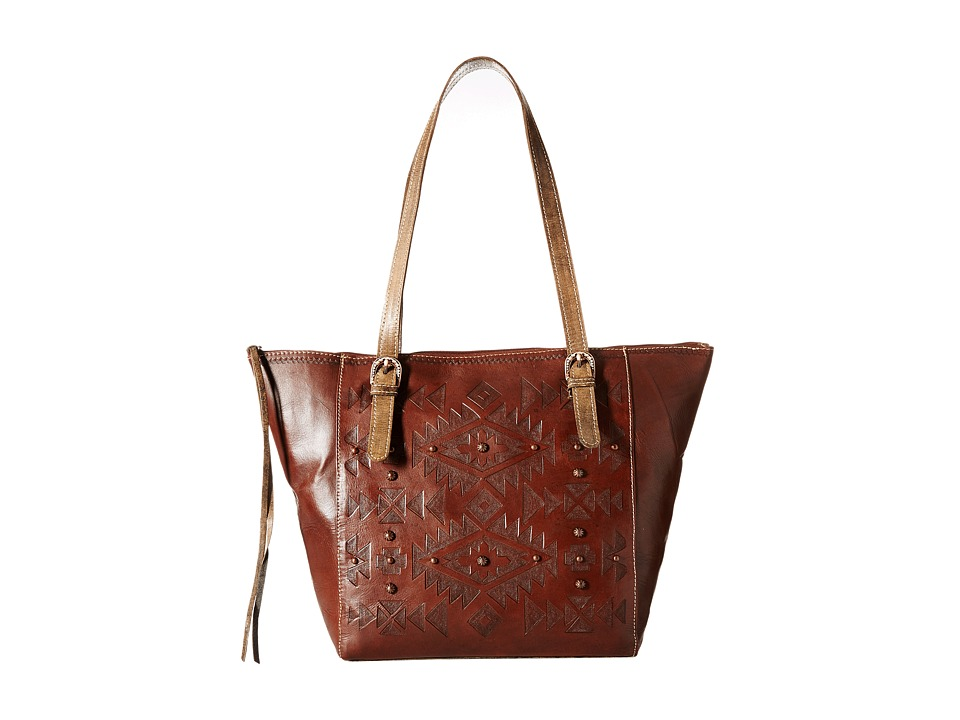 American West - Mystic Shadow Bucket Tote (Chestnut Brown/Distressed Charcoal Brown) Tote Handbags